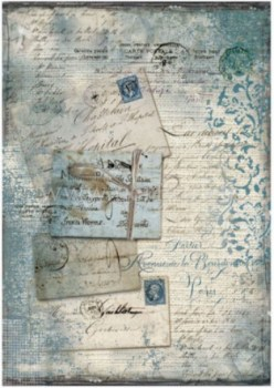 Dec papir Blue postcards with lace (1)