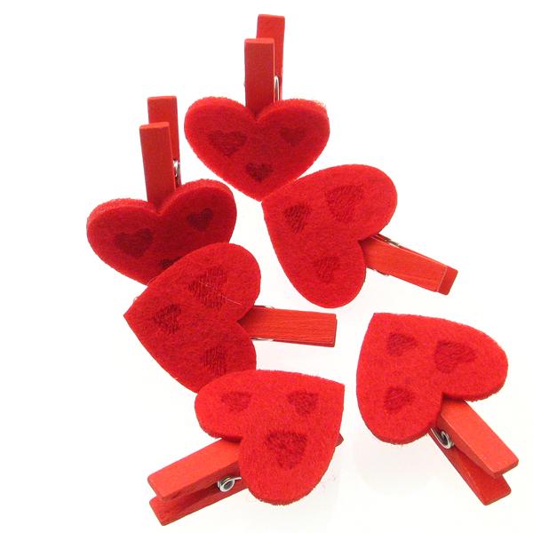 Drvene kvačice s srcem 35 mm od filca, 6 kom , DRV12